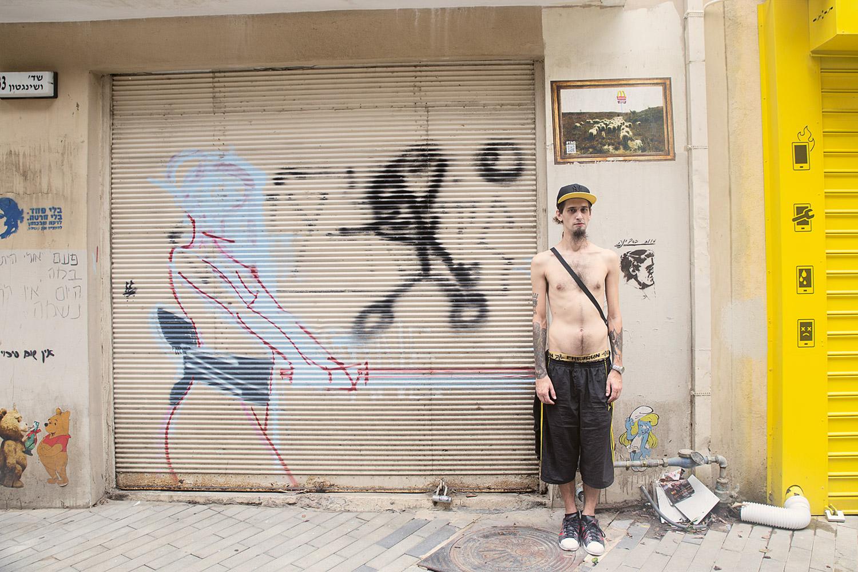 Posing in Florentin, Tel Aviv